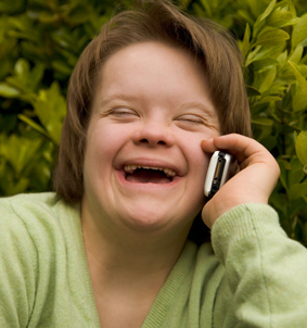 Girl With Downs Syndrome On Phone 283X302