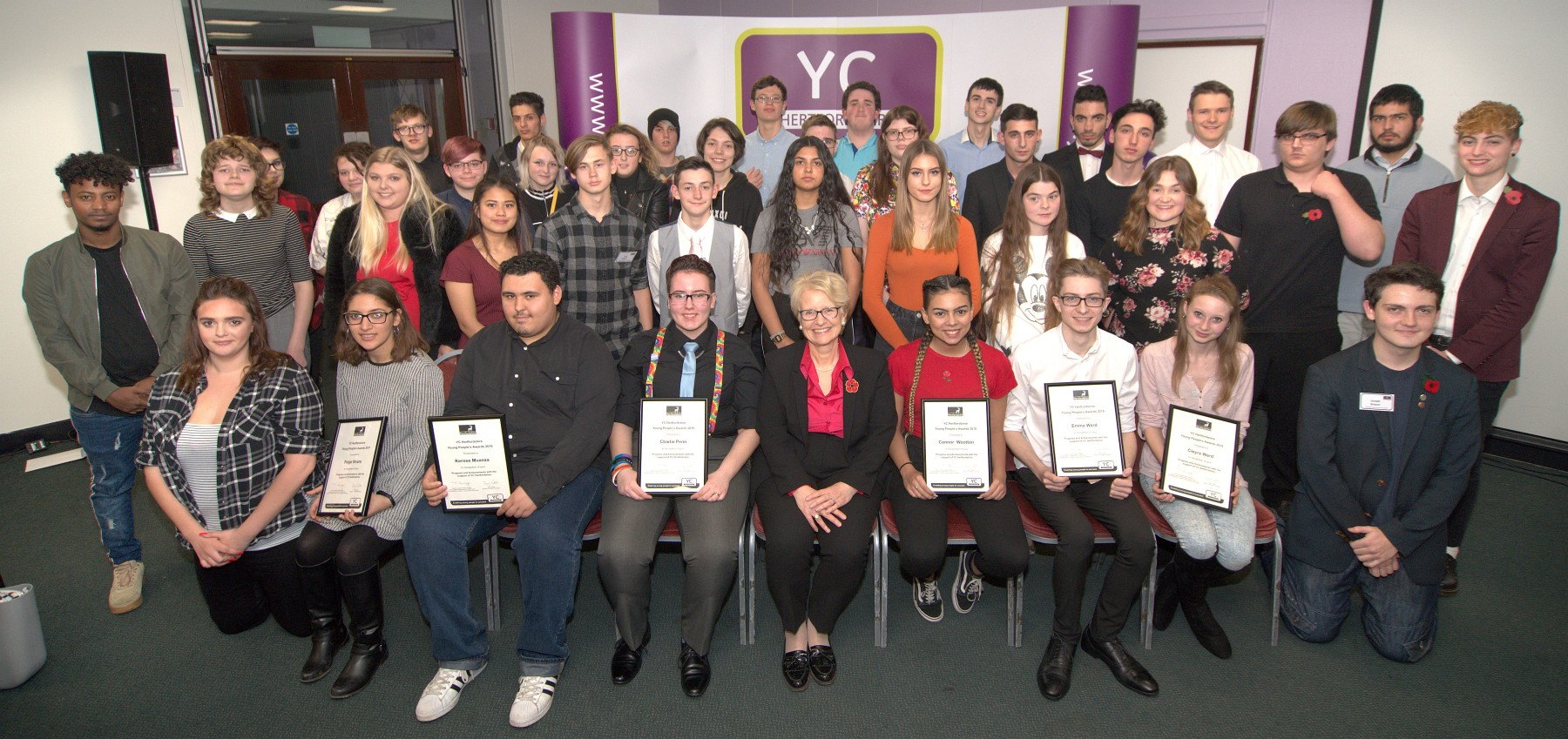 Young people congratulated for their hard work and success at YC Hertfordshire's Young People's Awards 2018
